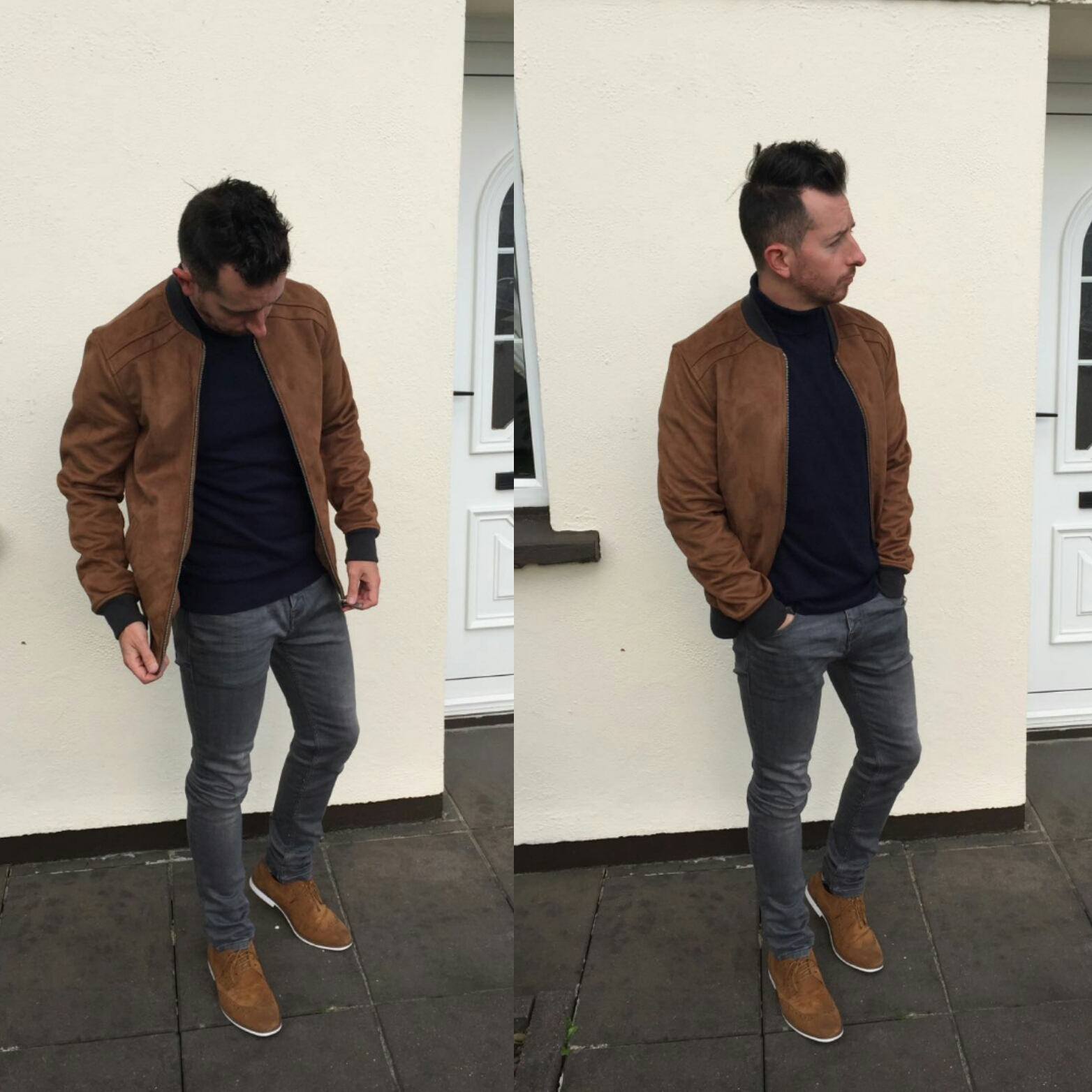 082d69782434 The point of fashion is to look good! The Roll Neck looks great with the  Tan Bomber! The grey jeans provide a great contrast. Prefect outfit for a  Autumn ...